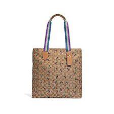 NEW WOMENS COACH (F30604) SIGNATURE JACQUARD BROWN CHERRY PRINT TOTE HANDBAG BAG