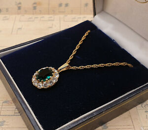 Vintage Attwood & Sawyer Gold Plated Simulated Emerald Pendant Necklace with Box