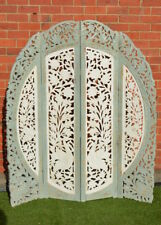 Indian Hand Carved Timber Vintage Peacock Screen Shabby Chic  Room Divider