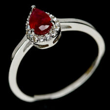 NATURAL 4 X 6mm. RED RUBY & WHITE CZ STERLING 925 SILVER RING SZ 6.5