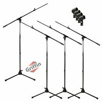 GRIFFIN Microphone Boom Stand 4 PACK - Telescoping Tripod Mic Clip Mount Holder