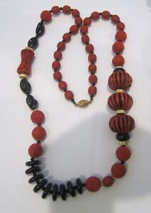 """ANTIQUE CHINESE CINNABAR AND BLACK ONYX 33"""" LONG NECKLACE WITH STERLING CLASP"""