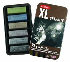 Derwent XL Graphite Tin of 6 Colours - Tinted Art Sketching Chunky Pencil Blocks