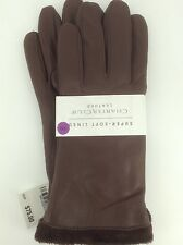 Women's CHARTER CLUB by MACYS Brown LEATHER Gloves - XXL - $75 MSRP