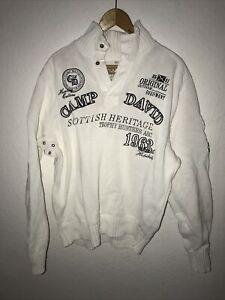 camp david pullover Troyer Gr.XXL Weiß Pullover Original Signiert