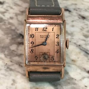 "Waltham Premier ""Penton"" Cal. 75017 Jewels Early 40's Rectangular Art Deco Watch"
