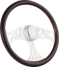 18 Inch Chrome Bettie Dark Wood Steering Wheel for Kenworth and Peterbilt Trucks