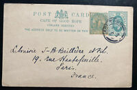 1904 Cape Town South Africa Stationery Postcard cover To Paris France