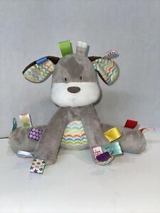 Bright Starts Taggies Puppy Lovey Dog Gray Stuffed Animal Plush Baby Rattle Toy