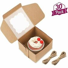 30 Packs 4x4x25 Inches Brown Bakery Boxes With Window Paper Gift For Pastries