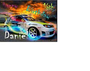 PERSONALISED SUBARU RACING CAR MONSTER A5 BIRTHDAY CARD ANY NAME AGE GREETINGS