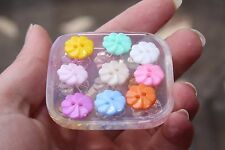 Clear-silicone flowers buttons Molds,9- pc. Free USA shipping.(Z-26)