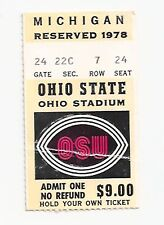 1978 Michigan Ohio State college football ticket stub Woody's last Michigan game