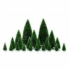 Lemax Decoration Assorted Snowy Pine Trees, Set of 21, Christmas Cake Decorating
