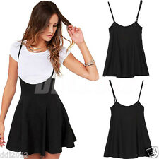 Women Fashion Skater Skirt With Shoulder Straps Pleated Summer Slim Mini Dress