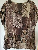Womens 2X Plus top animal print Blouse elastic hem shirt short sleeve V-neck NEW