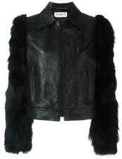 SAINT LAURENT FOX FUR SLEEVES LEATHER JACKET FR 40 UK 12