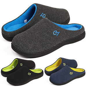 Mens Two-Tone Warm Plush lined Memory Foam House Slippers Grey Size  9 10 11