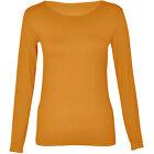 Femmes Manches Longues Extensible Uni Rond Decolleté T Shirt Top Taille 36-44