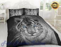 3D BLACK WHITE TIGER LUXURY PRINTED DUVET COVER BEDDING SET PILLOW CASE ALL SIZE