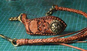 Handmade Motorcycle Biker Chain Genuine Braided Skull keychain Trucker Wallet X7