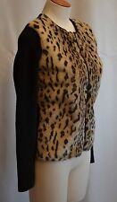 ANN TAYLOR Animal Print Faux Fur NEW SWEATER JACKET  Retails $110 Size S  Petite