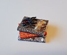 Creepy BOOK STACK spooky witch handmade spider 1:12th scale dollshouse miniature