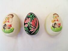 2 Ferrandi Anri Italy 1979 Carved And Painted Eggs And 1 Black Lacquer Egg