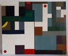 Tableau huile sur toile composition abstraite XXème (signé)