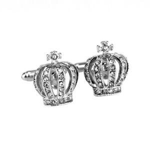 NEW White Crystal Crown silver Fashion Shirt Men Cuff Links Wedding Groom Gift