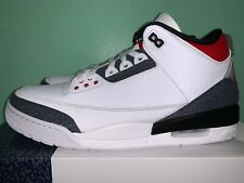 2020 Nike Air Jordan Retro 3 Fire Red Denim White Black Men sz 7.5-12 CZ6431-100
