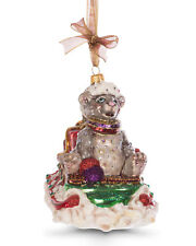 Jay Strongwater MOUSE ON SLED Glass Ornament NEW Swarovski Crystals MSRP $185.00