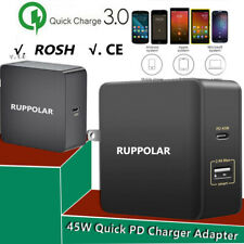 45W QC3.0 Quick PD Charging Charger Adapter USB-C Type-c For Mac Laptop Portable