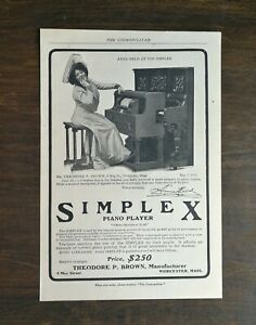 Vintage 1904 Simplex Piano Player Theodore P Brown Full Page Original Ad 721