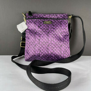 Coach F50065 Taylor Purple Snake Print Swingpack Cross Body Bag Purse
