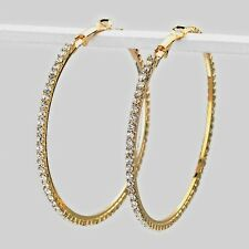 Clear diamante Hoop earrings sparkly rhinestone party prom gold tone 346-M