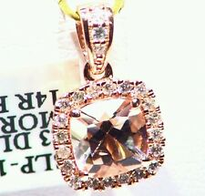 1.51CT 14K Rose Gold Natural Morganite Cut White Vintage  Diamond Halo Necklace