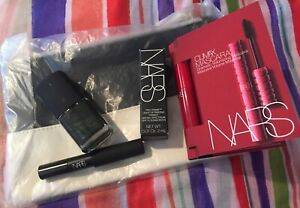 4 Pc Nars Makeup Lot + Cosmetic Bag- Climax Mascara,Primer,Shadow Pencil & More