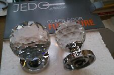 Quality Crystal Cut Glass Mortice Door Knob Knobs Polished Chrome per pair