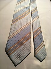 Hardy Amies Men's Vintage Silk Tie in an Embossed White Blue and Gold Stripe