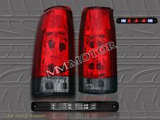 88-98 CHEVY SILVERADO GMC C/K TRUCK RED SMOKE TAIL LIGHTS G2+LED 3RD BRAKE LIGHT