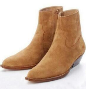 Western Mens Chelsea Real Suede Leather High Top Ankle Boots Mid Heel Shoes New
