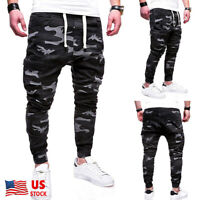 Mens Casual Camouflage Pants Joggers Hip Hop Jogger Slim Fit Stretch Trousers US