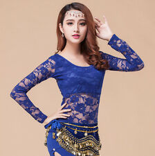 Women Sexy Lace Oriental Belly Indian Dance Tops Practice Costume Dancing Shirts