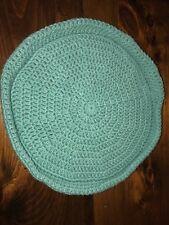 Handmade Crochet Round Cat Bed Green