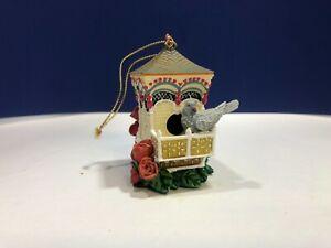 "Hanging Porcelain Birdhouse Christmas Ornament ""Dove Estate"" 1998 HC"