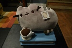 Pusheen Enjoying Coffee and a Book Gund Barnes & Noble Exclusive RARE 8 1/2 inch