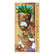 Luau TIKI MAN BATHROOM Restroom DOOR COVER 30in x 5ft Tropical Hawaiian Party