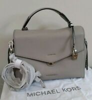 "MICHAEL KORS "" BRISTOL "" GREY MEDIUM LEATHER SATCHEL CROSSBODY/BAG  BNWT"