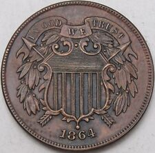 1864 2C, Two Cents, 2 Cents, BU, UNC, Obsolete Coinage, Copper, #3997